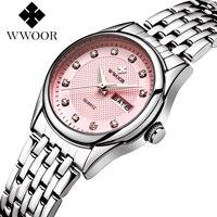 WWOOR 2017 New Brand Fashion Women Watches Quartz Watch Dress Ladies Casual Sports Wristwatch Stainless Steel