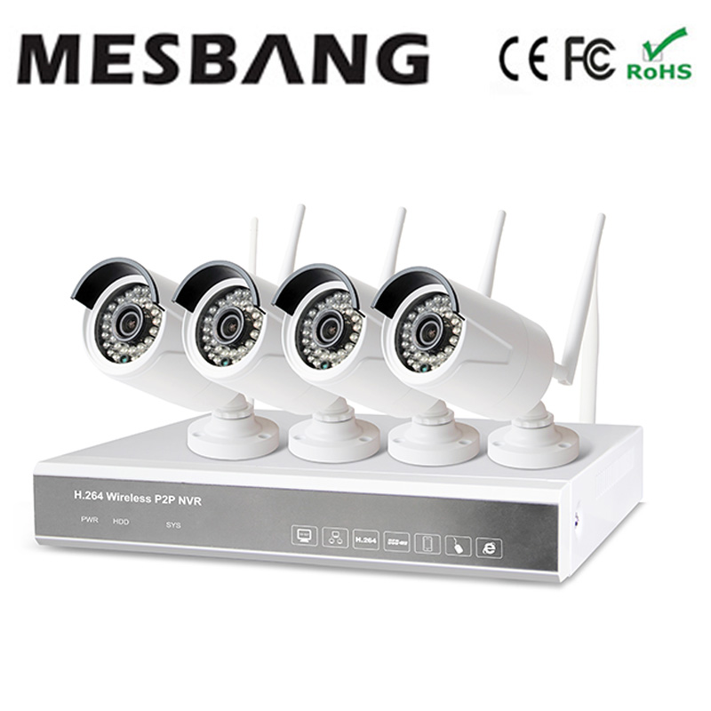 recommend Mesbang 960P build in 1TB HDD hard disk driver  wifi wireless cctv camera system 4ch nvr kit HDDfree shipping