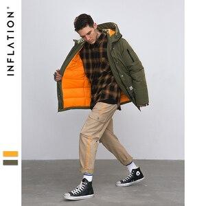 Image 3 - INFLATION longue doudoune hommes hiver manteau mode hiver chaud blanc canard épais doudoune à capuche vêtements de sortie dhiver veste 8765W