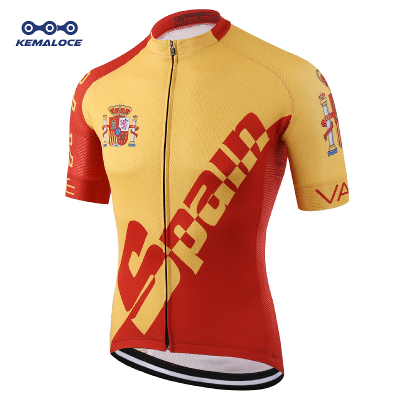 Pro Tour Spanyol merek Bersepeda Memakai Jersey Merah Ciclismo Sepeda Pakaian Kit Jalan Kompresi Digital Print Uv Kemeja Seragam ...
