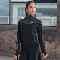 High Neck Hoodies Long Sleeve Slim Jacket Anti Slip Autumn Coat Sports Shirt Women Running Yoga Shirt Fitness Clothing Sport Top