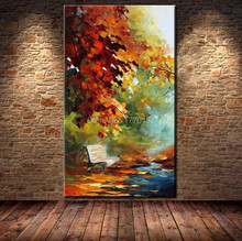 100% Hand Painted Autumn Landscape View Knife Modern Canvas Oil Painting For Living Room Wall Art vertical Single Pictures T1P7