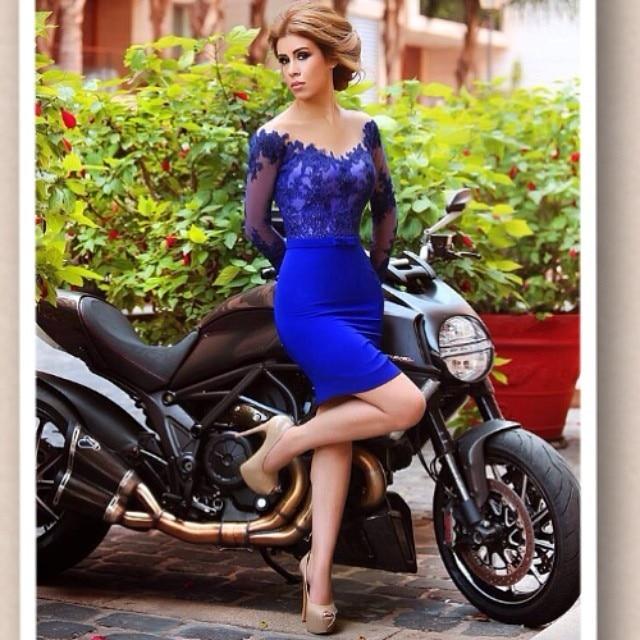 Cocktail     Dresses   Plus Size Blue Mermaid Long Sleeve Short Evening Prom   Dress   2019