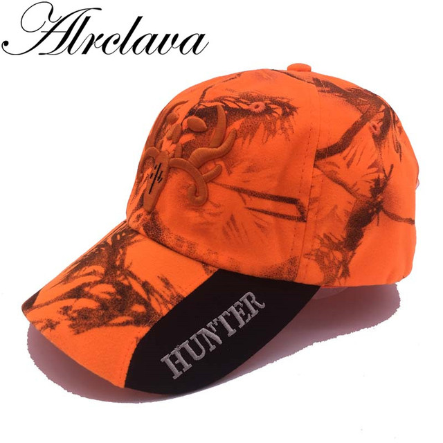 חדש חיצוני הסוואה כובע פלורסנט אורנג ציד כובע כתום זוהר Camo כובע עם 3D לוגו בייסבול כובע