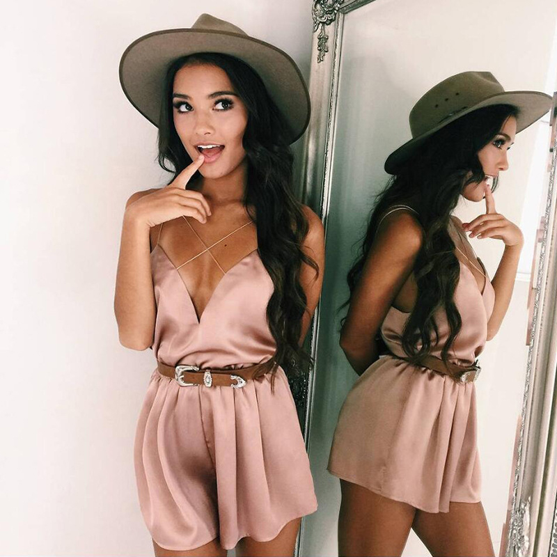 Sexy Deep V Neck Women 2018 Summer Beach backless playsuits Satin Jumpsuits Casual Black Rompers Women Jumpsuit Pink Overalls