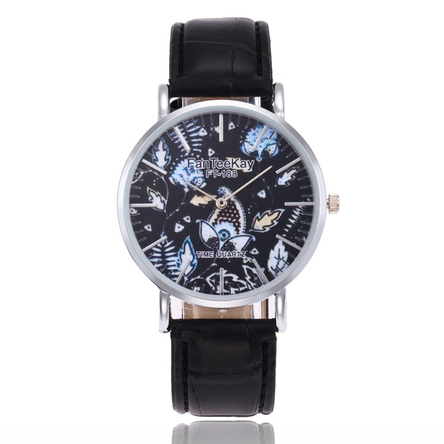 Men's Watches Fashion Flower Analog Dial Simple Scale Quartz Watch Leather Strap