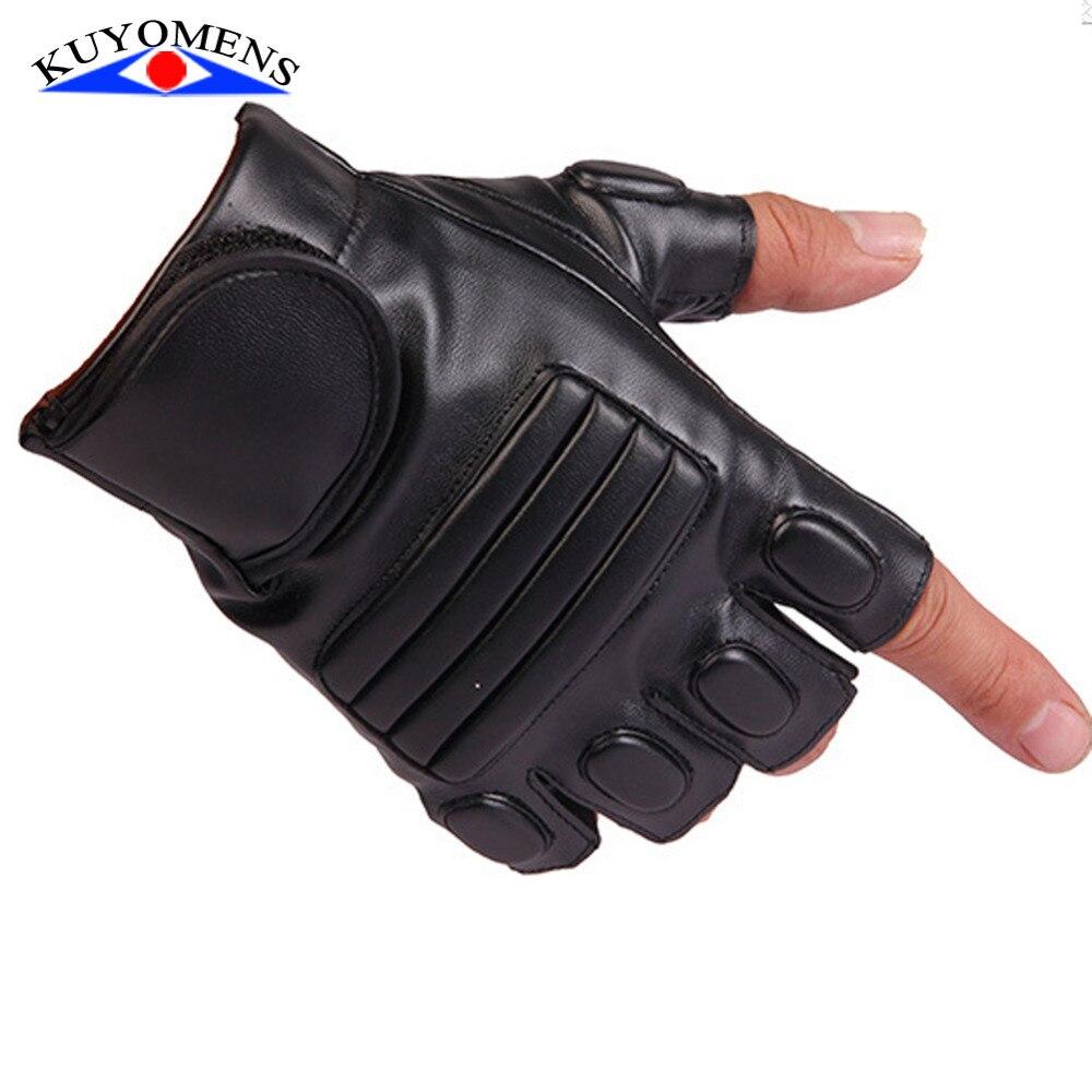 Black leather cut off gloves - Summer Half Finger Men And Women Gloves Unisex Pu Leather Fingerless Gloves For Fashion Ladies Women