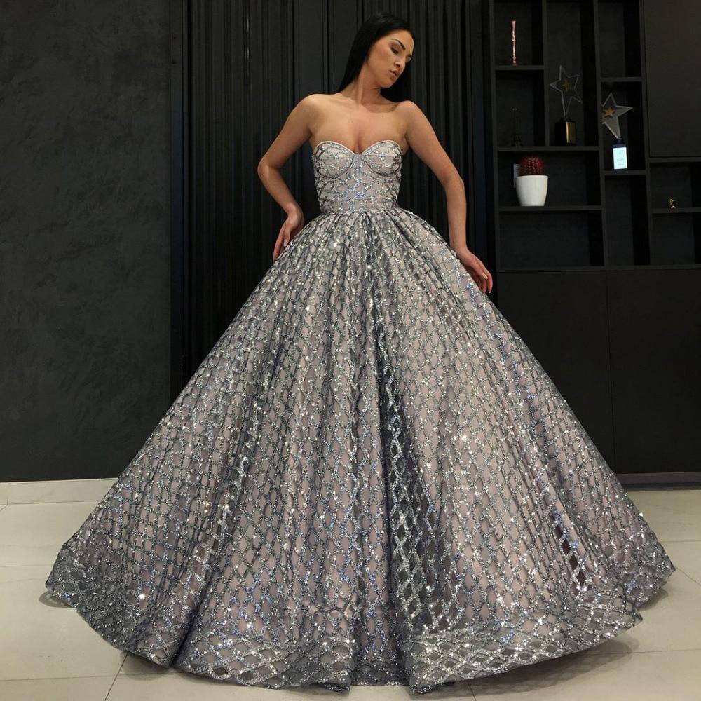 Long Elegant Evening Dress 2019 Glitter Sweetheart Ball