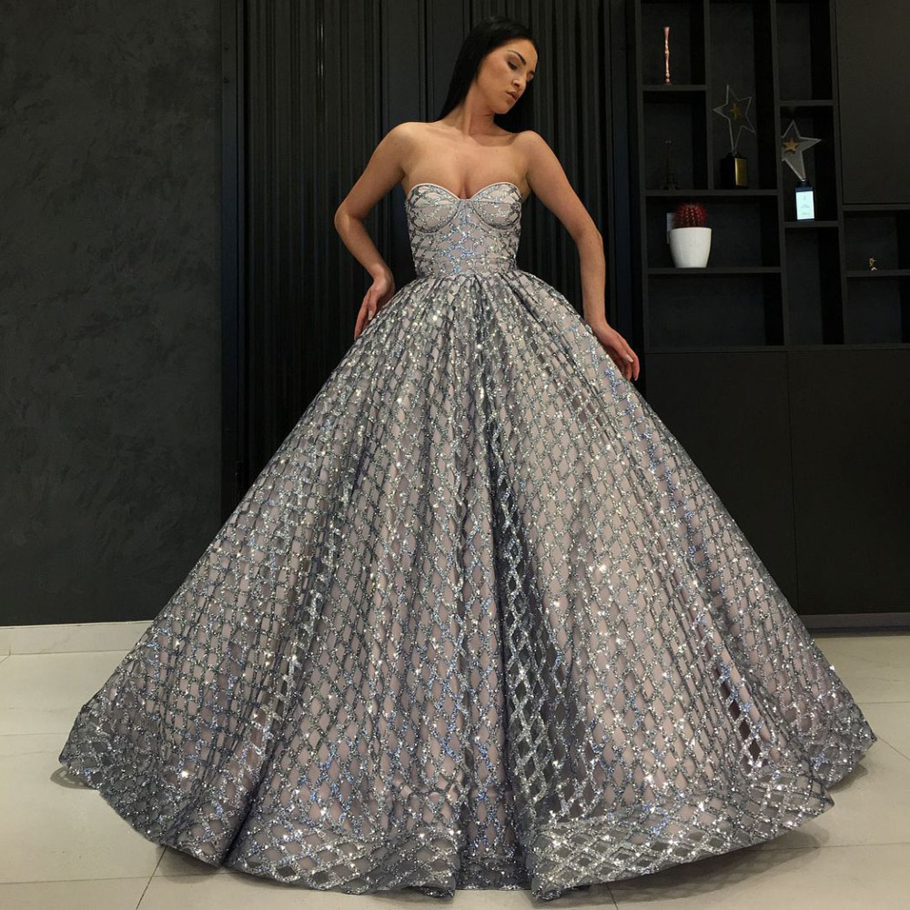 Long Elegant   Evening     Dress   2018 Glitter Sweetheart Ball Gown Arabic Style Silver Women Formal   Evening   Gowns