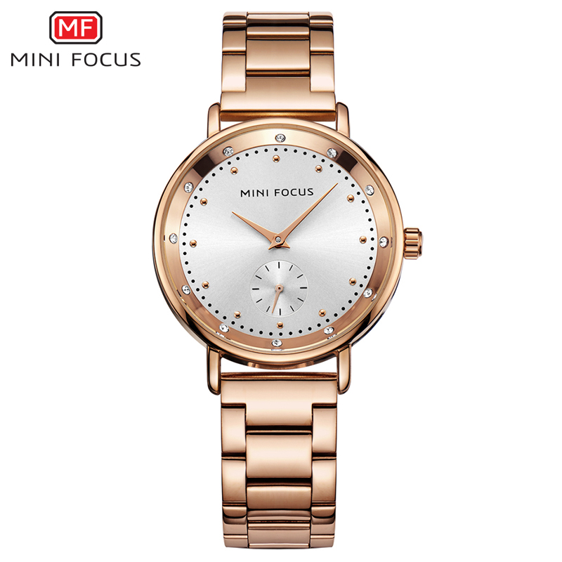 MINI FOCUS Work Sub-dial Rose Gold Quartz Watch Women Watches Ladies Brand Luxury Female Wrist Watch Girl Clock Relogio Feminino chenxi women quartz watches ladies to brand luxury wristwatches clock calendar rose gold wrist watches relogio feminino page 5