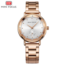 MINI FOCO de Trabalho Sub-dial Rose Gold Relógio De Quartzo Das Mulheres Relógios Senhoras Relógio Marca de Luxo Relógio De Pulso Feminino Da Menina Relogio feminino