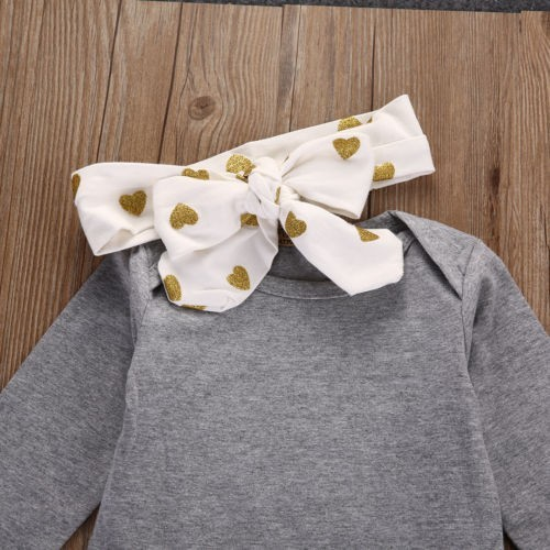 2018 baby girl clothes Pure gray long sleeve Bodysuit + Love pants + Headband 3pcs suit newborn baby girl clothing set 2