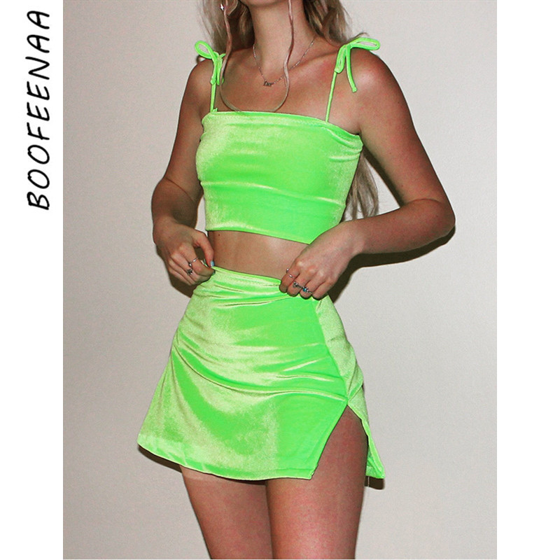 BOOFEENAA 2020 Summer Two Piece Outfits Velvet Hot Pink Neon Green 2 Piece Set Crop Top And Mini Skirt Matching Sets C66-AA02