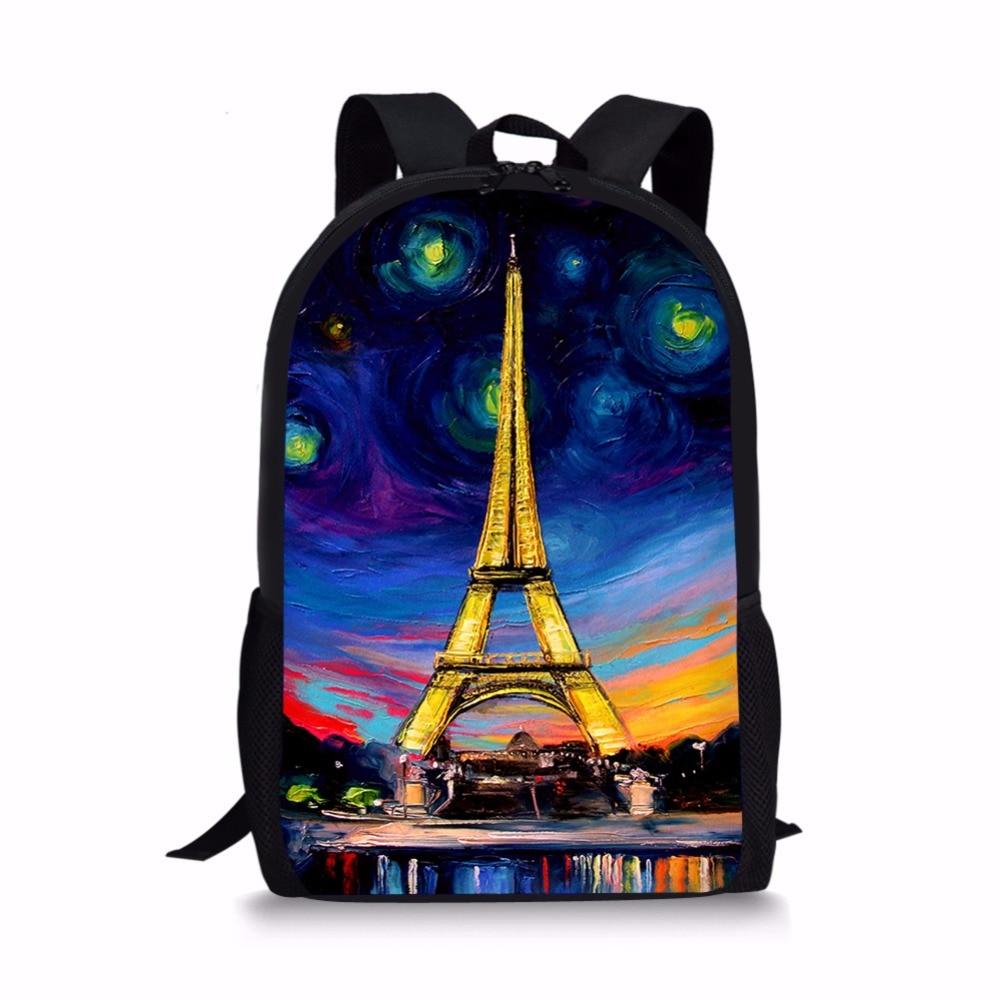 Forudesigns Эйфелева башня ранцы Ван Гог звездное небо школьная сумка для подростков Обу ...