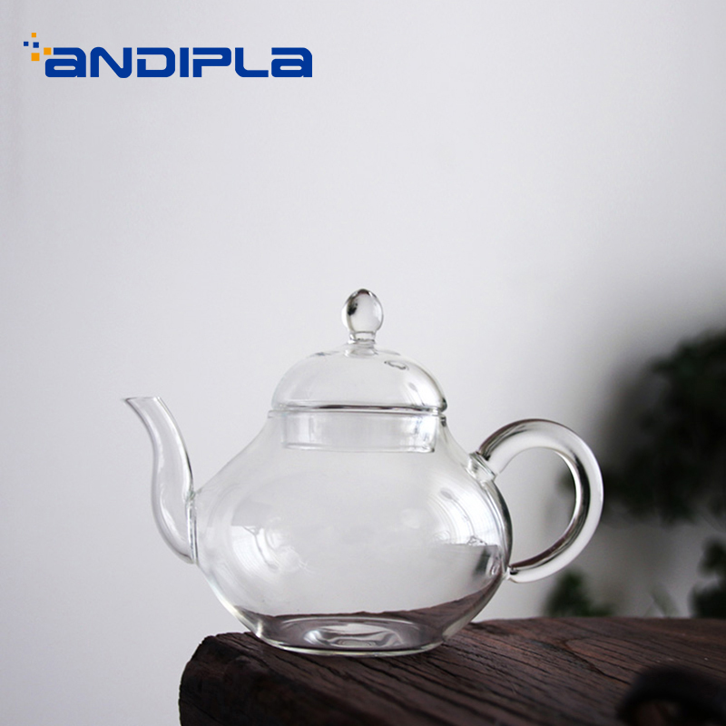 Japanese-style 250ml Brief Handmade Transparent Glass Filter Teapot Home Drinkware Kung Fu Tea Set Heat Resistant Tea Kettles