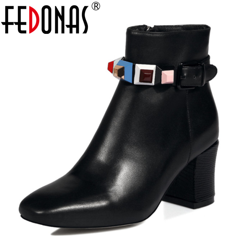FEDONAS Autumn/Winter Ankle Women Boots Chelsea Boots Zipper Metal Decoration Thick Heels Square Toe Shoes Woman Large Size enmayla ankle boots for women low heels autumn and winter boots shoes woman large size 34 43 round toe motorcycle boots