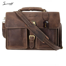 SMIRNOFF Vintage Luxury Brand Messenger Bag Men Computer Laptop Belt Leather Handbag Genuine Leather Belt Bag Men