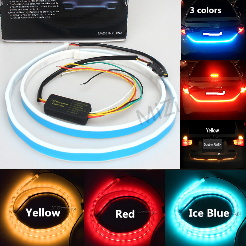 2,3 Colors Ice Blue Red/Yellow Rear Trunk Tail Light LED Strip Light Dynamic Streamer Brake Turn Signal Leds Warning Light d24 varta blue dynamic 60 ач москва