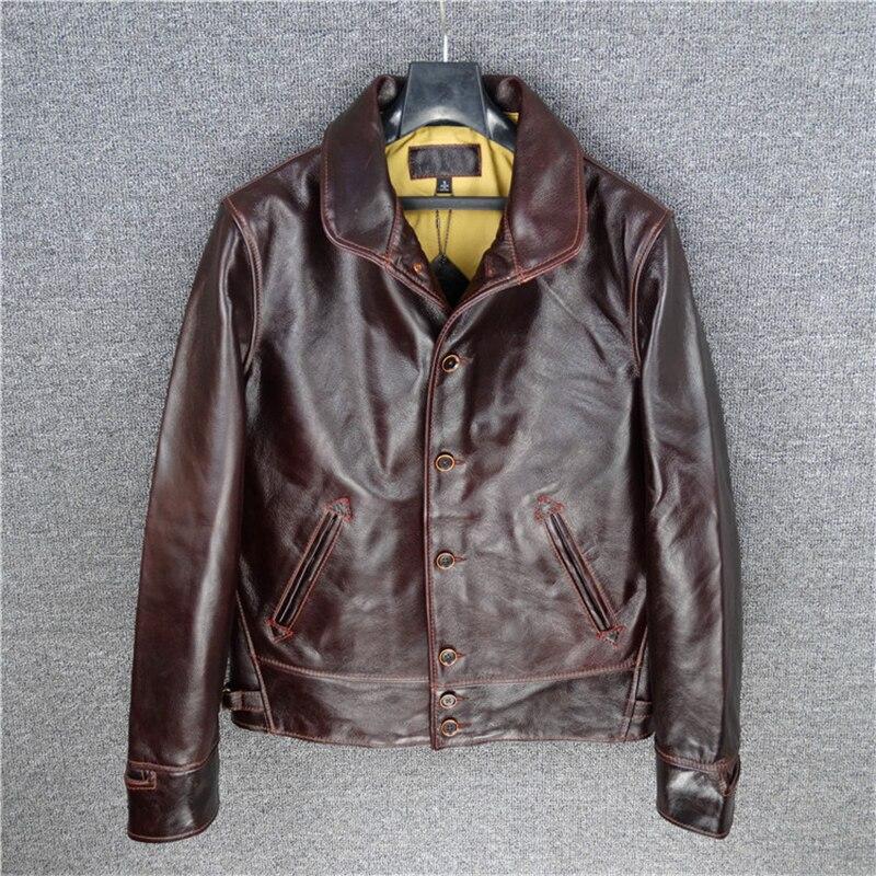 LIRE LA DESCRIPTION! Homme en cuir de vache véritable veste mince vintage en cuir de vachette véritable cosaque veste