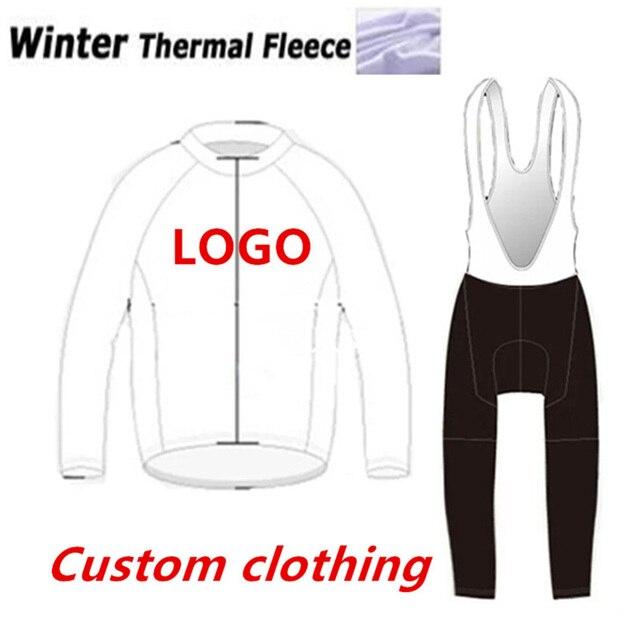 Personalizado Ciclismo Inverno Conjunto de Manga Longa Calças JARDINEIRAS Cinta Camisa Mtb Ropa Ciclismo Maillot Roupas de Ciclismo Pro Equipe Personalizado