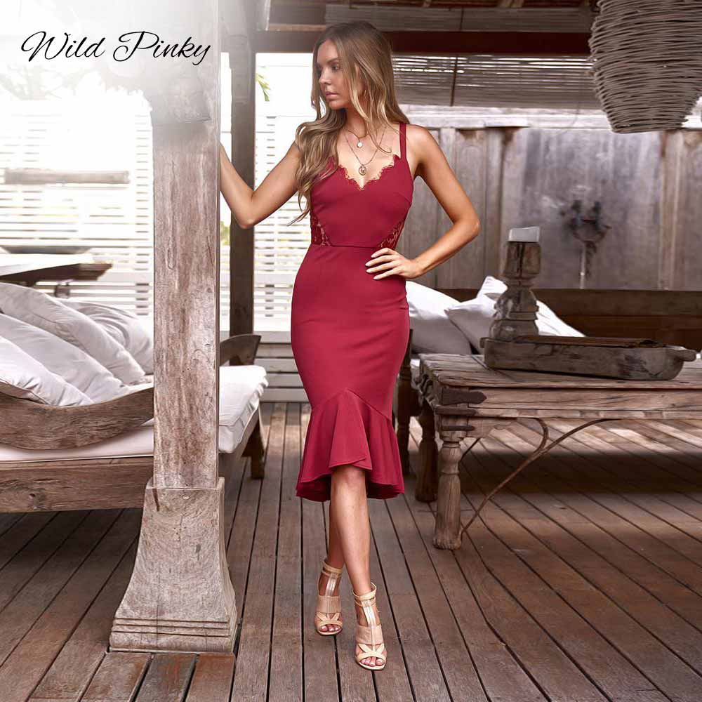 WildPinky Black V Neck Lace Wrap Dress Women Summer Party Sexy Ladies Dresses 2019 Womens Clothing Elegant Hollow Mermaid