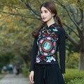Estilo chino de La Vendimia Del Cuello de O Bordado Pesado Camiseta Para mujeres Niñas Primavera 2016 Otoño Étnico Camiseta Tribu Festival Tee