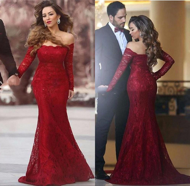 5ac7e28c84ca4 Bling Vintage Prom Dresses Boat Neck Off The Shoulder Long Sleeves Maroon  Prom Dress Lace Mermaid Burgundy Prom Dress