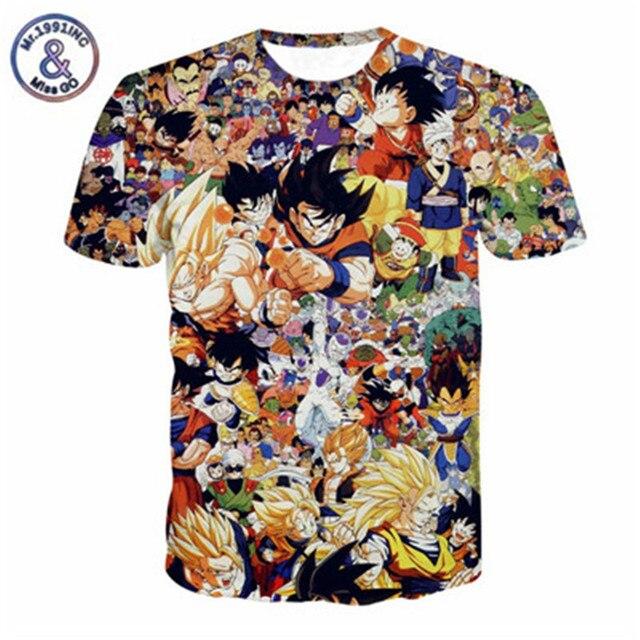 d2b1d9112 Clássico Anime camisetas Moda Dos Desenhos Animados Personagens De Dragon  Ball Z Vegeta Goku camisa 3d