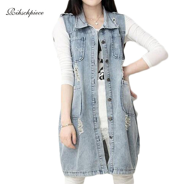 Sleeveless Jeans Women Plus Size 4XL Long Denim Vests of Women Spring Casual Ripped Jacket RZF024