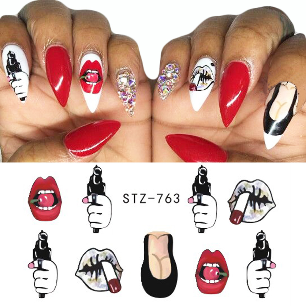 Image 5 - 9pcs Sexy Girl Lips Slider Water Decals Nail Sticker Water Transfer Tattoo Wraps Adhesive Tip Manicure Decoration JISTZ756 765-in Stickers & Decals from Beauty & Health
