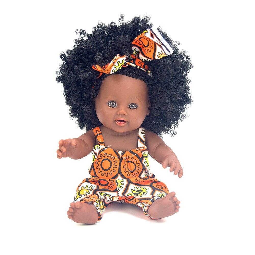 African black 12inch dolls reborn baby boneca Rapauzel newborn silicone reborn baby dolls born lifelike safety eyes children