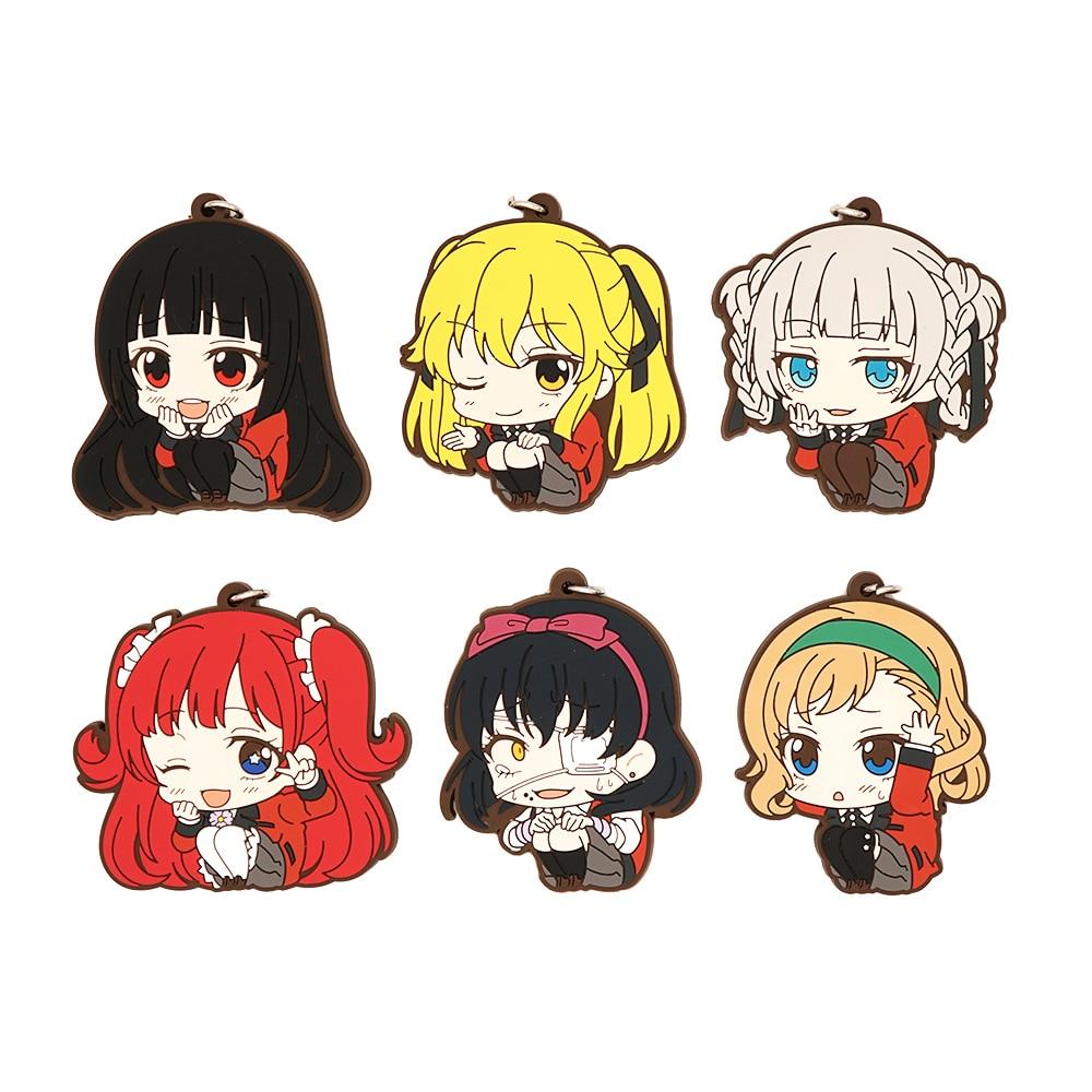 Kakegurui Anime Strap Keychain Jabami Yumeko Meari Kirari Yumemi Midari Itsuki Rubber Strap Keychain