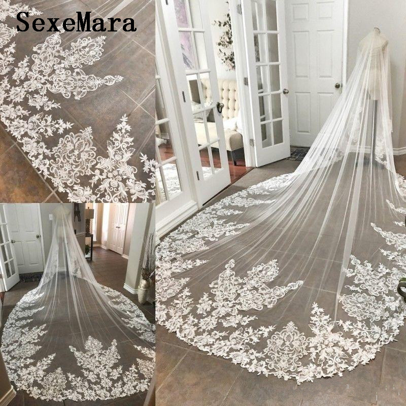 Vintage Romantic Cathedral Length Wedding Veils One Layer Lace Appliqued Edge Bridal Veil White Lace with Comb