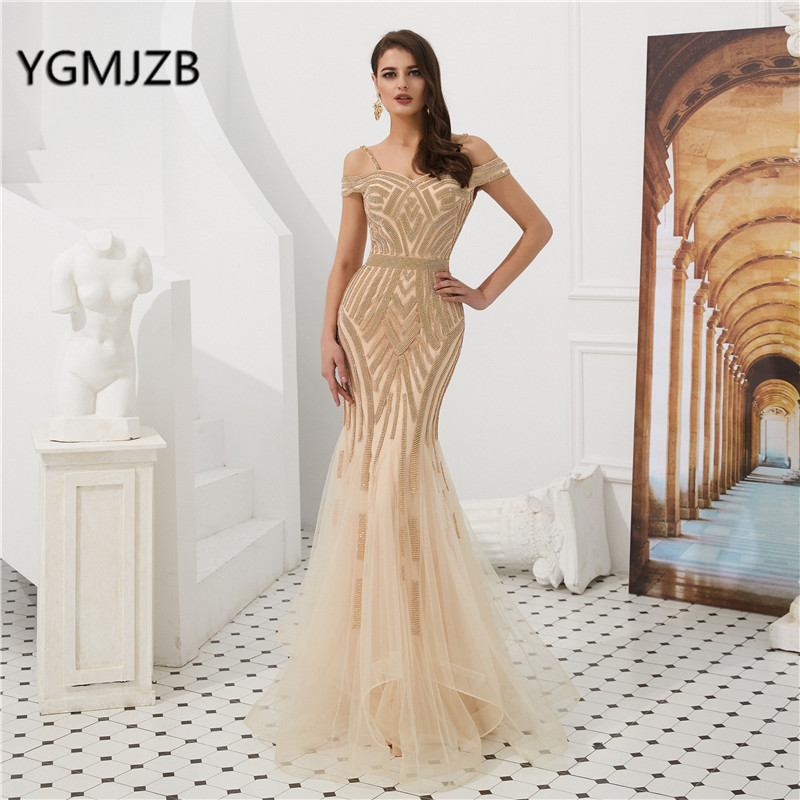 Dubai Luxury   Evening     Dress   Long 2019 Tulle Crystal Off Shoulder Sleeveless Mermaid Prom   Dress   Elegant Formal Party Gown