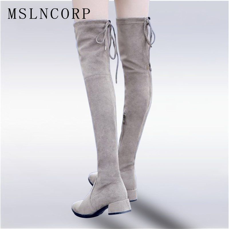 plus size 34-43 Over The Knee Boots Round Toe Women Boots Lady Stretch Fabric Fashion Boots Low Heel Genuine Leather Boots Shoes women winter genuine leather low heel rivets pointed toe side zipper fashion over the knee boots plus size 33 43 sxq1013
