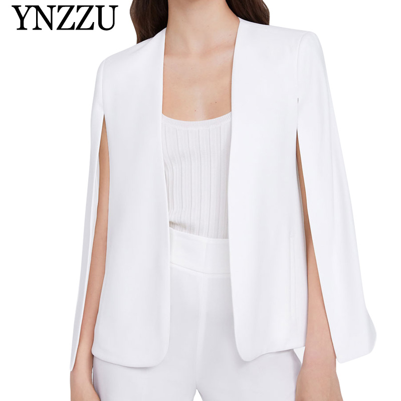 Elegant White Poncho Office Lady Cloak Open Front Blazer 2019 Autumn Split Modern Lady Workwear Spring Women Suit Coats AO946