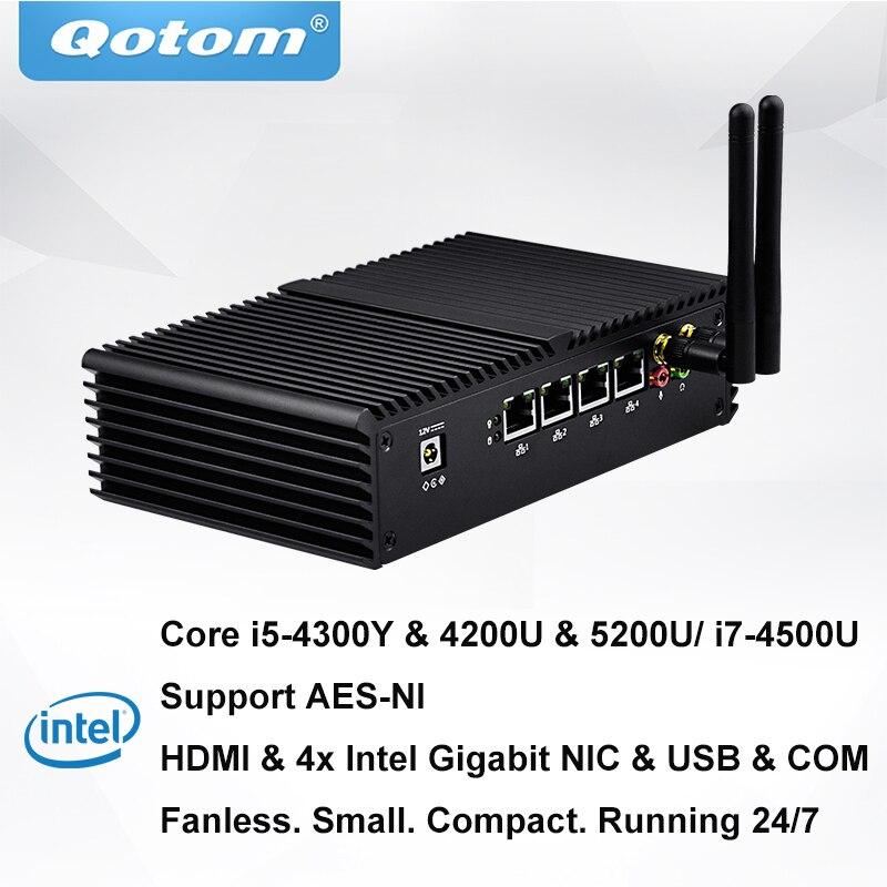 QOTOM Mini PC PFSense AES-NI avec 4 Gigabit NIC, Core i3 i5 i7 Processeur, fanless Mini PC avec Port Série