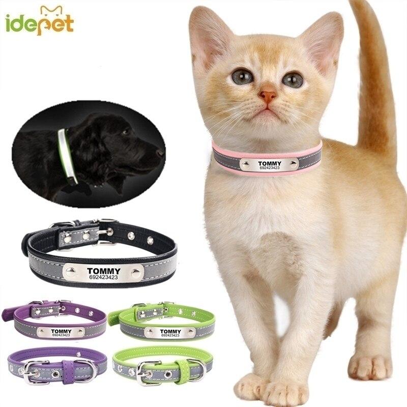 สะท้อนแสงหนังที่กำหนดเองแมวส่วนบุคคล ID Collar แกะสลักชื่อโทรศัพท์หมายเลขฟรีแกะสลักลูกสุนัข ...