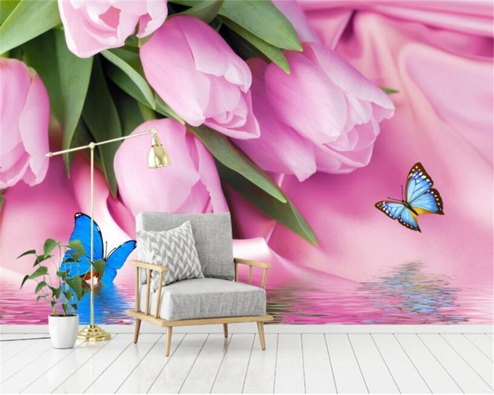 Beibehang Custom 3d photo wallpaper pink romantic tulips reflection wall covering mural for living room background 3d wallpaper