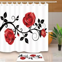 Flower Shower Curtain Concise Style Red Rose Black Branch White Background Mildew Resistant