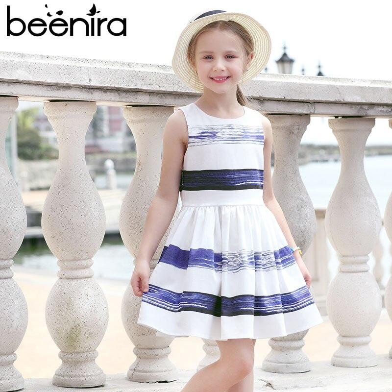 Beenira/детское платье, новинка 2019 года, стильное платье без рукавов в полоску белого и синего цвета для девочек, повседневное летнее платье для...