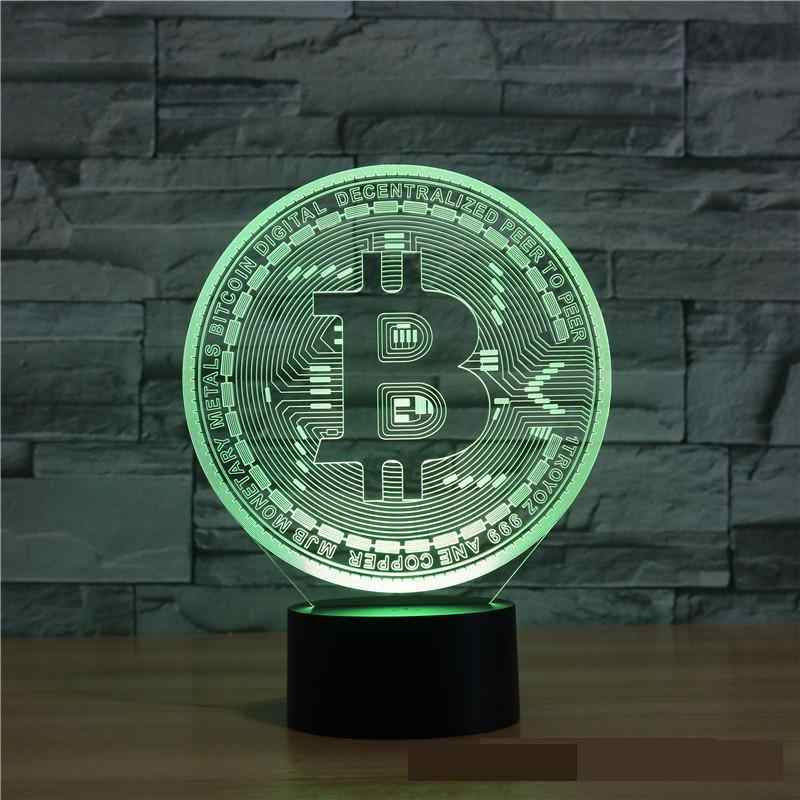 New Bitcoin 3d Lamp 7 color Touch Led Visual  Led Night Light Gift Decoration Table Lamp Gifts for Children Kids Room Light