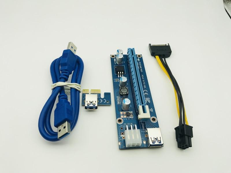 Кабель передачи данных 008C USB 3,0 для ПК, PCIe PCI-E PCI Express Райзер-карта 1x до 16xSATA к 6Pin IDE, источник питания Molex для майнера BTC