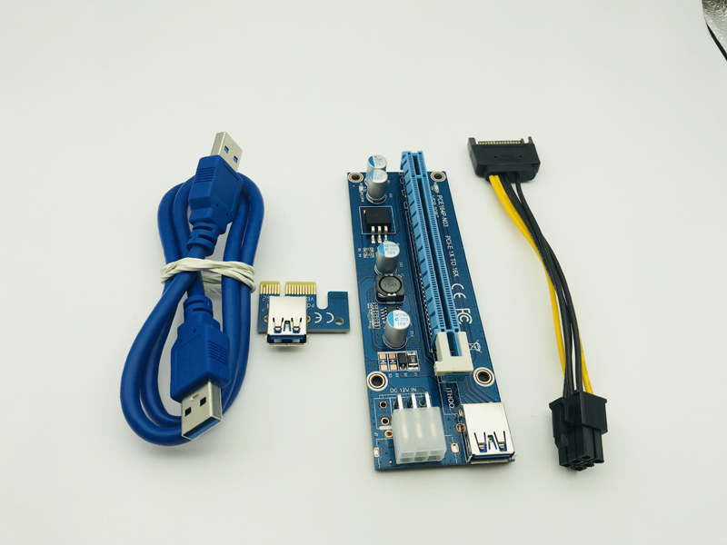008C USB 3.0 Data Cable PC PCIe PCI-E PCI Express Riser Card 1x to 16xSATA to 6Pin IDE Molex Power Supply for BTC Miner Machine