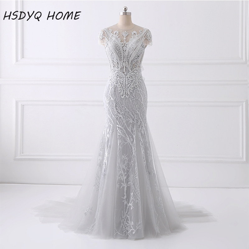 2017 Spring Summer Sexy Mermaid Prom Dresses long design Evening Dress New Design Amazing Party gown beading Evening gown(China)