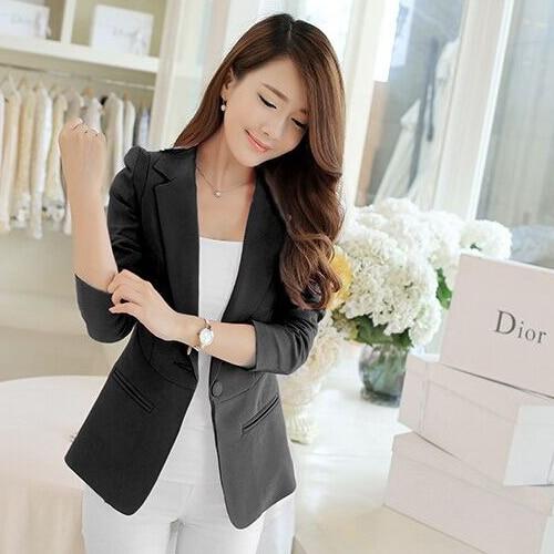High Quality J60180 Korean Style New Fashion Women Solid Blazer Casual Suit Single Button Slim Jacket Female Coat