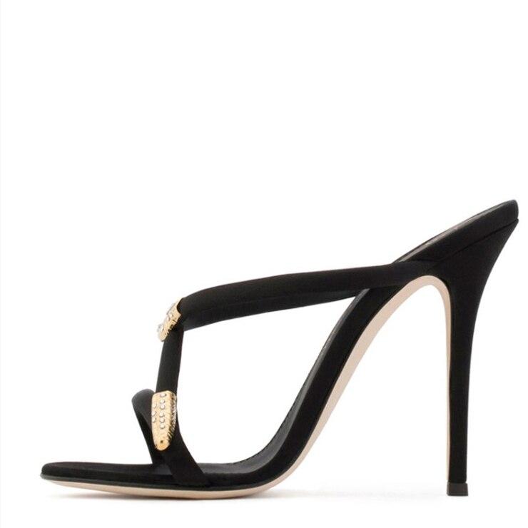 Pompes 2018 Noir Mules or Sandalias À Noir Talons Gladiateur Romain Dame Plage Chaussures Femmes Or Pantoufles Hauts D'été oxEeQdBrCW