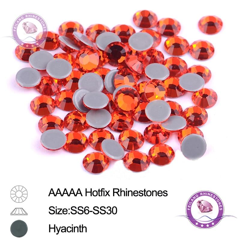 Hot Fix//iron on//glue on Loose Flat Back Rhinestones 2,3,4,5,6mm Hyacinth Orange