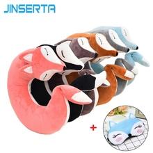 JINSERTA 러블리 폭스 동물 코튼 플러시 U 모양의 목 베개 자동차 홈 여행 베개 낮잠 건강 관리 베개 어린이 성인