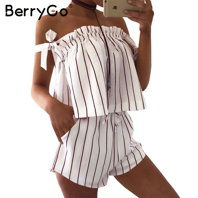 the latest 73cba 093a6 BerryGo Off shoulder stripe elegant jumpsuit romper White strap backless  bow overalls Sexy summer beach playsuit women outfit